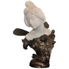 "19th Century Marble and Bronze Bust Entitled ""Papillon De Nuit"", Joaquim Anglès"