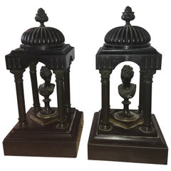 19th Century Marble and Bronze Neoclassical Garnitures