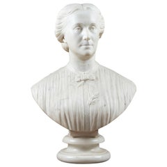 19th Century Marble Bust of Octavia Hill by J. Boehm