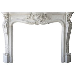 19th Century Marble Fireplace of Carrara Marble in Style of Louis XV