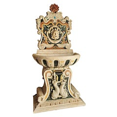19th Century Marble Fountain Inlaid with Various Precious Marbles