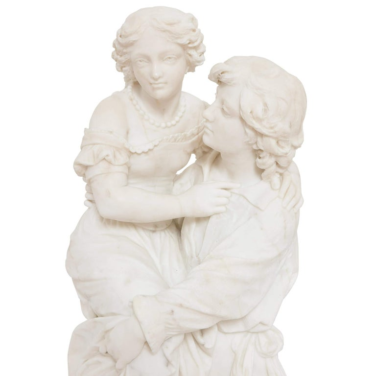 Italian 19th Century Marble Group of a Man and a Woman For Sale