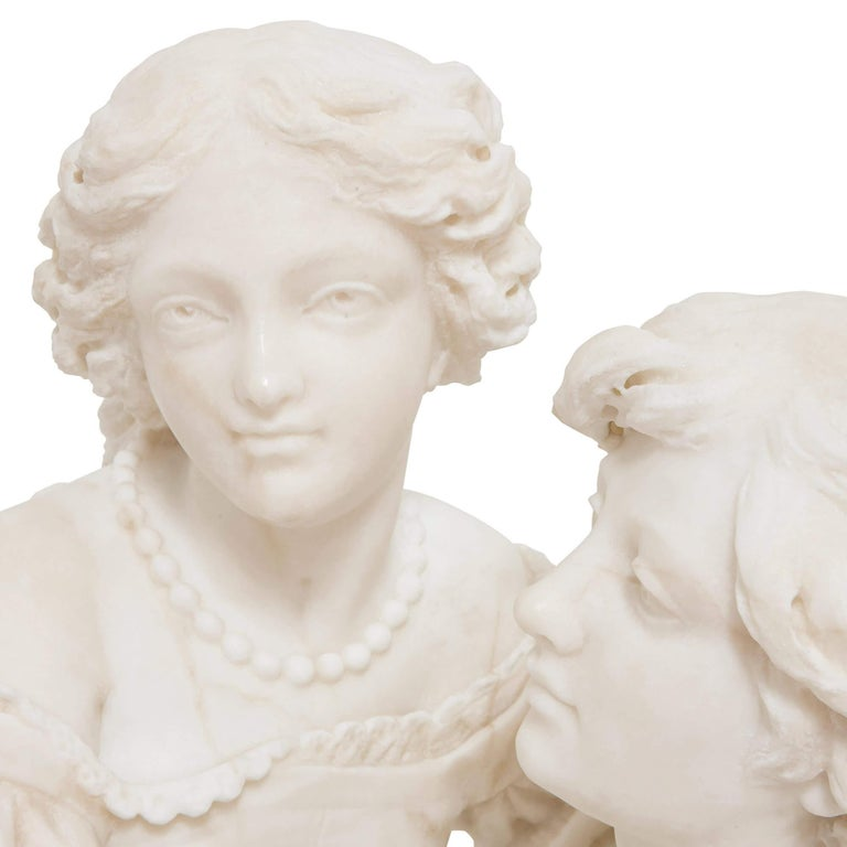 19th Century Marble Group of a Man and a Woman In Good Condition For Sale In London, GB