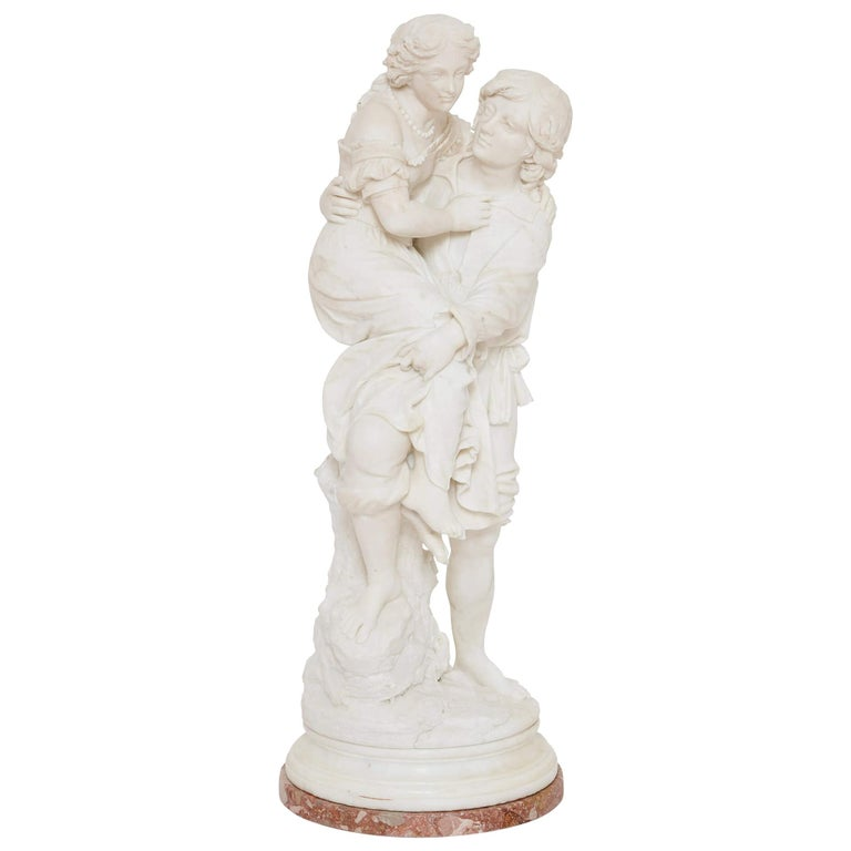 19th Century Marble Group of a Man and a Woman For Sale