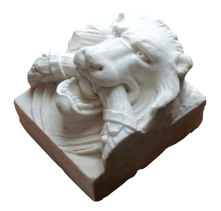 Carved 19th Century Marble Lion Architectural Element Sculpture For Sale