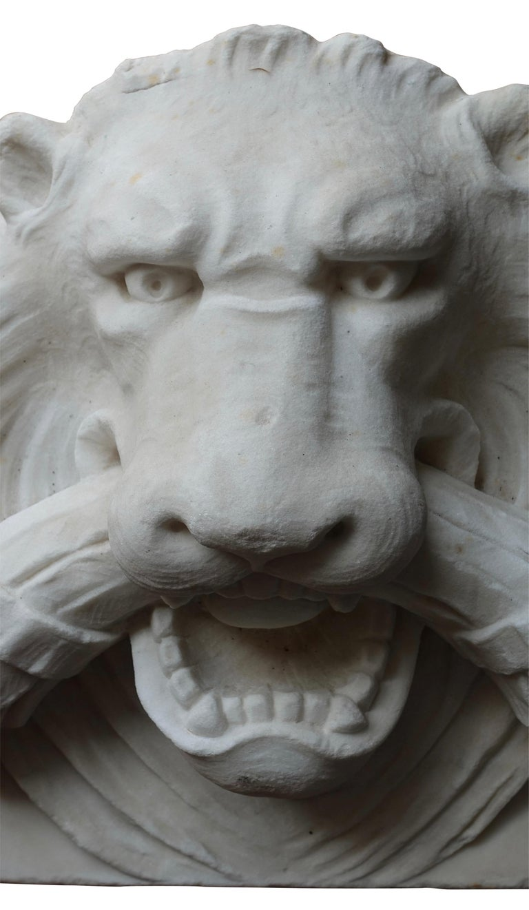19th Century Marble Lion Architectural Element Sculpture In Good Condition For Sale In San Francisco, CA