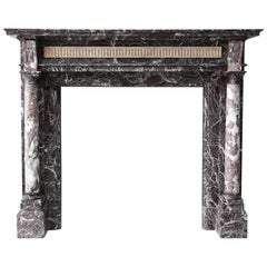 19th Century Marble Mantel in Style of Louis XVI of Levanto Marble from Toscane