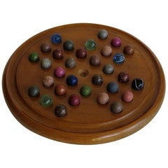 19th Century Marble Solitaire Board Game, with 32 Handmade Marbles, circa 1880