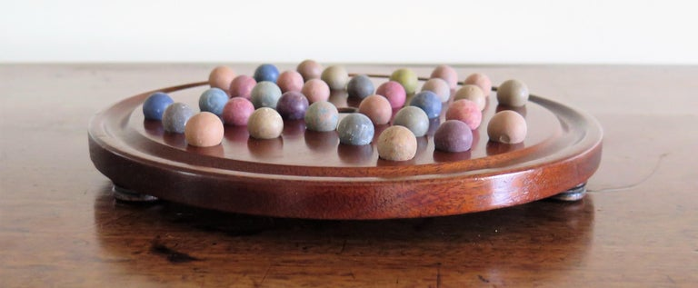 19th Century Marble Solitaire Game with Handmade Mahogany Board and 32 marbles For Sale 5