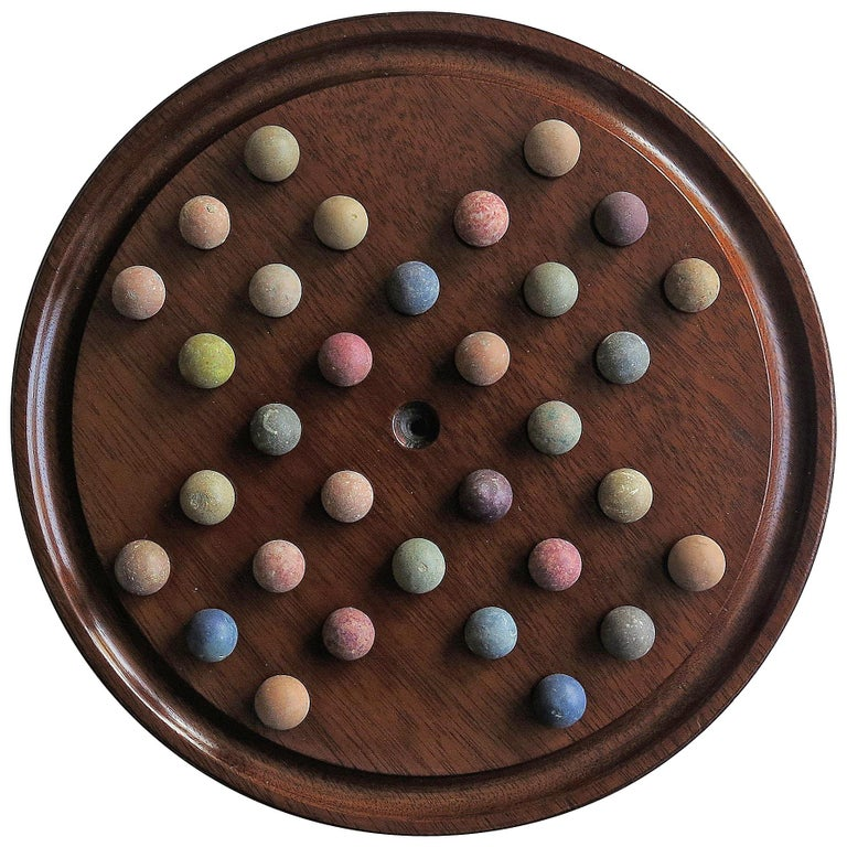 19th Century Marble Solitaire Game with Handmade Mahogany Board and 32 marbles For Sale
