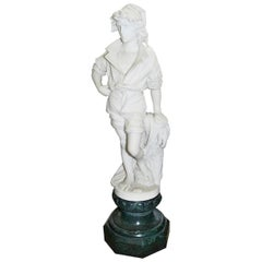 19th Century Marble Statue of a Fisherman, Signed Prof. Lapini, Firenze