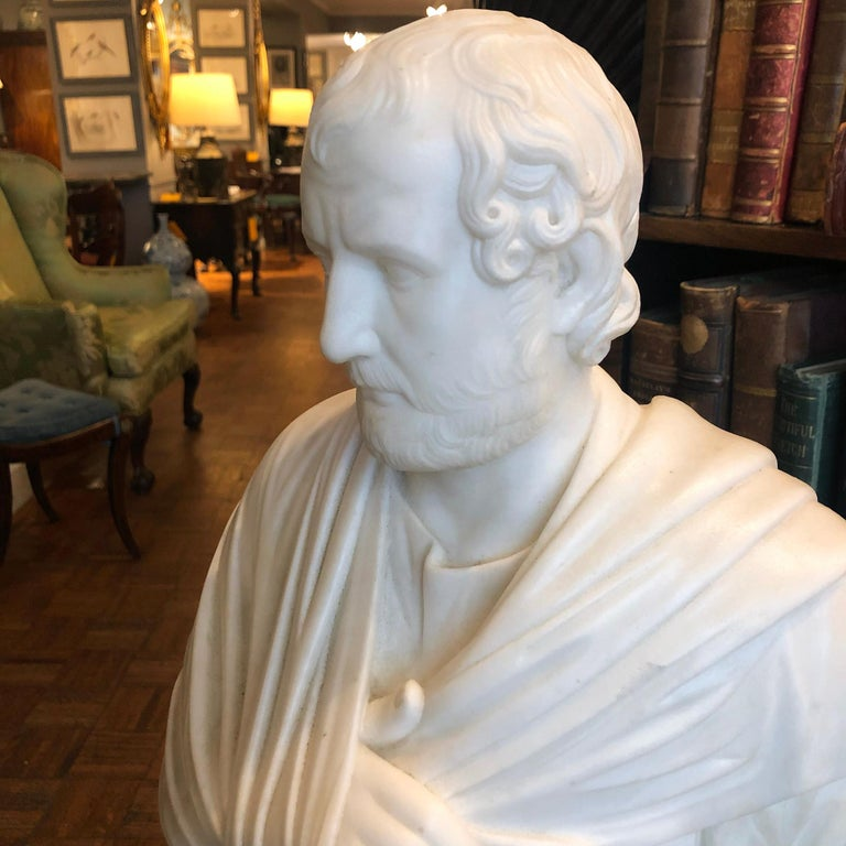 Neoclassical 19th Century Marble Statue of Aristedes, Signed by Giacomo Cali For Sale