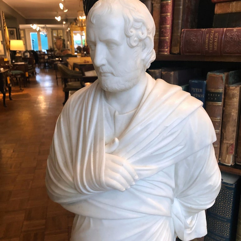 Italian 19th Century Marble Statue of Aristedes, Signed by Giacomo Cali For Sale