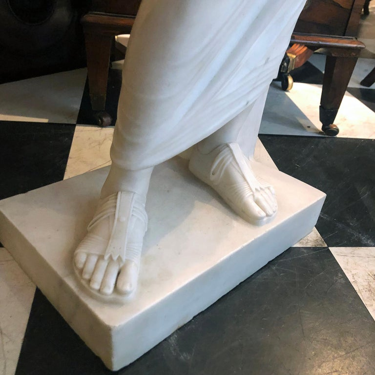 Hand-Carved 19th Century Marble Statue of Aristedes, Signed by Giacomo Cali For Sale