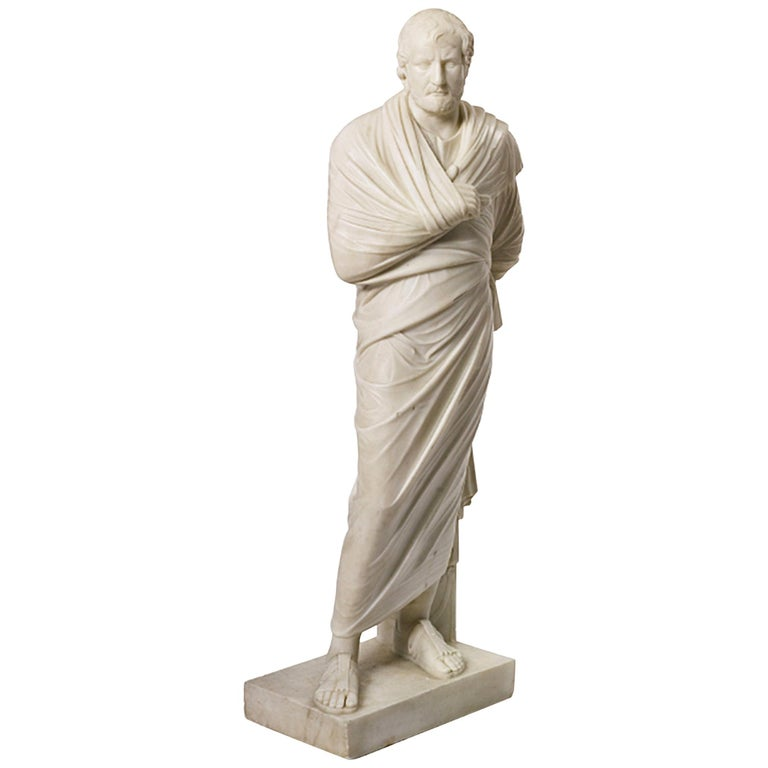 19th Century Marble Statue of Aristedes, Signed by Giacomo Cali For Sale