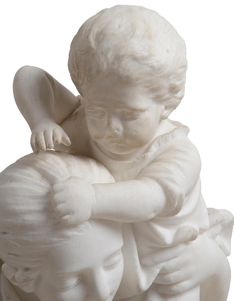 Romantic 19th Century Marble Statue of Mother and Child For Sale