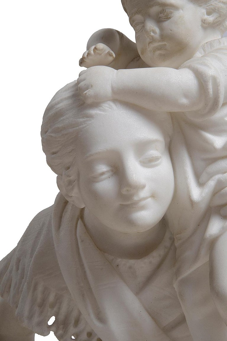 French 19th Century Marble Statue of Mother and Child For Sale