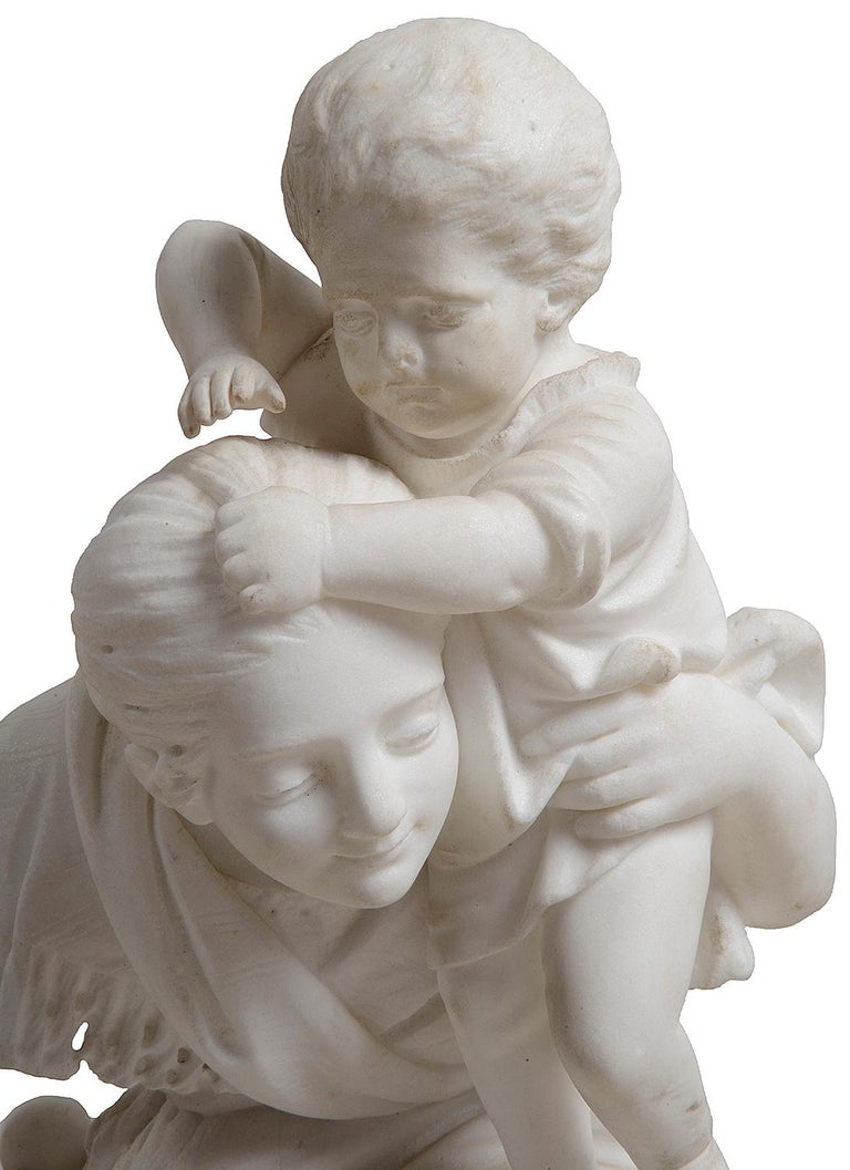 Hand-Carved 19th Century Marble Statue of Mother and Child For Sale
