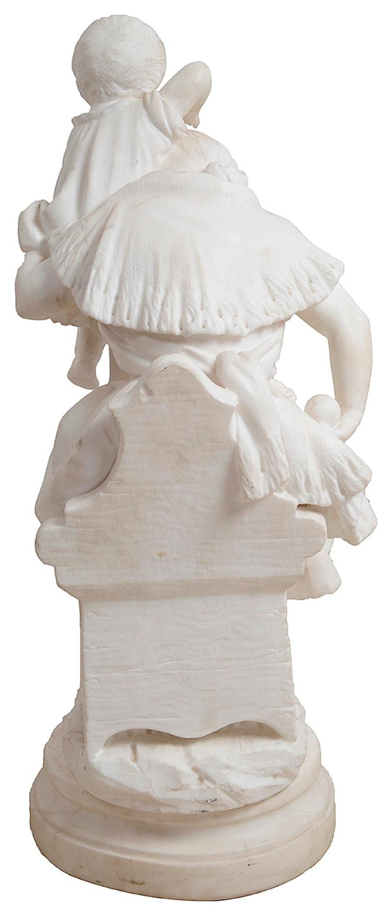 Carrara Marble 19th Century Marble Statue of Mother and Child For Sale