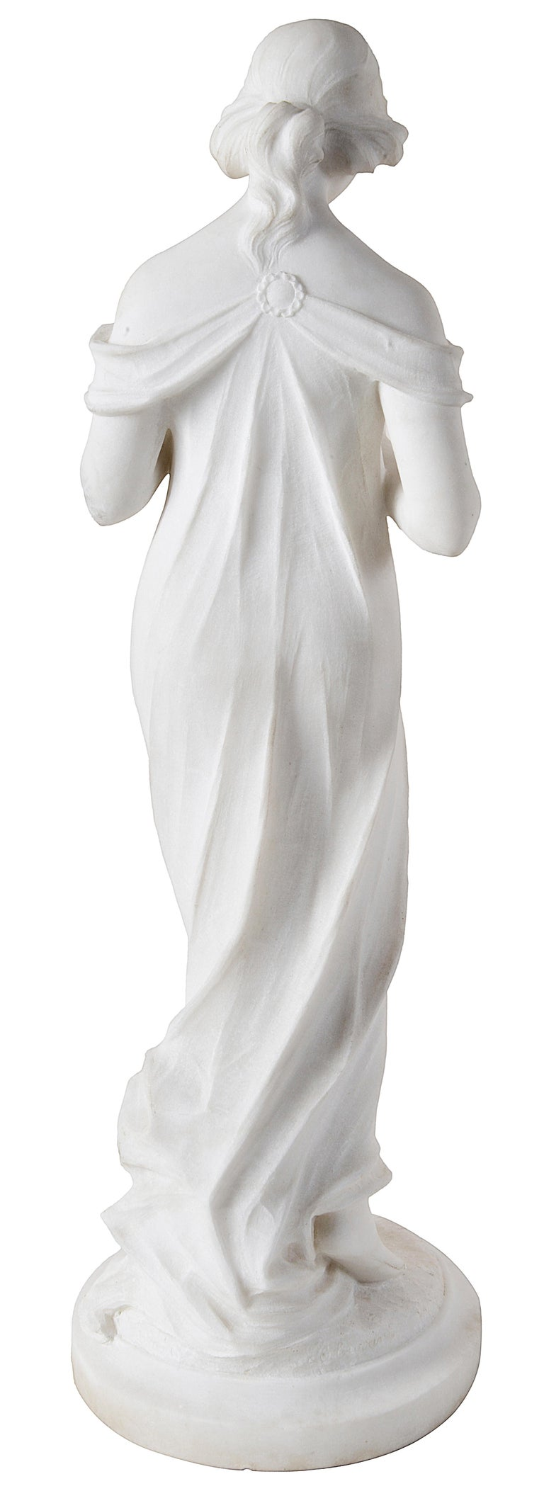 Italian 19th Century Marble Statue of Young Girl Holding Flowers For Sale