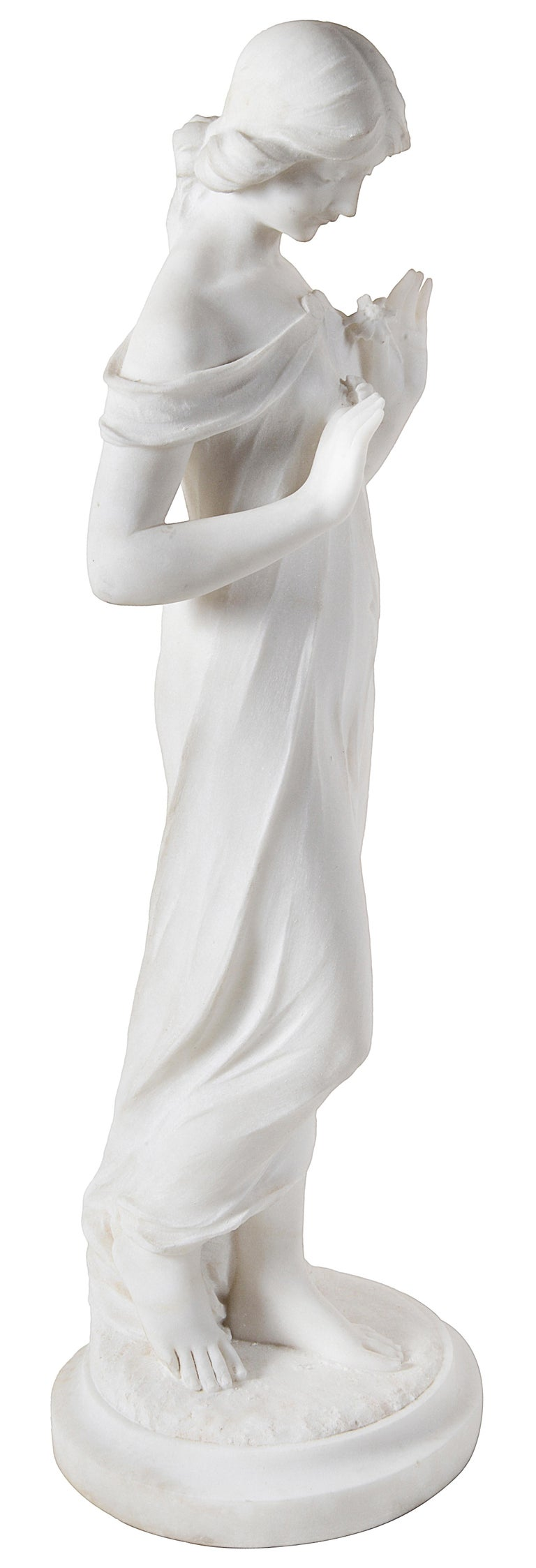 Hand-Carved 19th Century Marble Statue of Young Girl Holding Flowers For Sale
