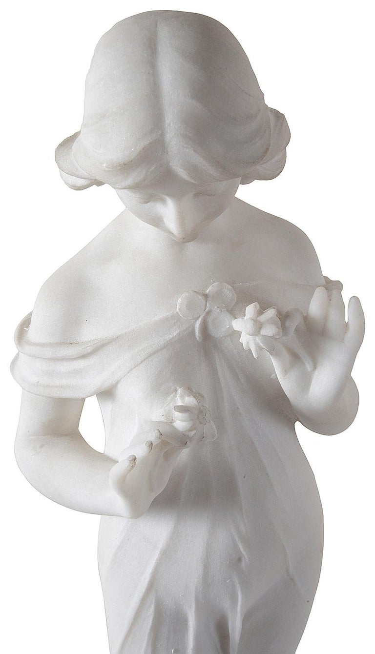 19th Century Marble Statue of Young Girl Holding Flowers In Good Condition For Sale In Brighton, Sussex