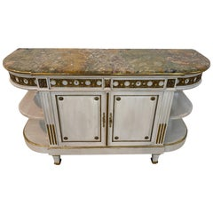 19th Century Marble Top and Bronze Ormolu-Mounted Credenza by E. Poteau, Paris