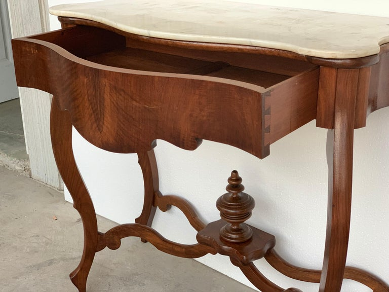 19th Century Marble-Top Walnut Console Table with Drawer For Sale 6