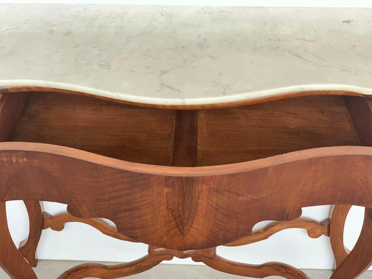 English 19th Century Marble-Top Walnut Console Table with Drawer For Sale