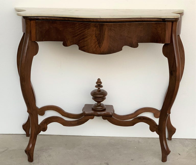 Victorian 19th Century Marble-Top Walnut Console Table with Drawer