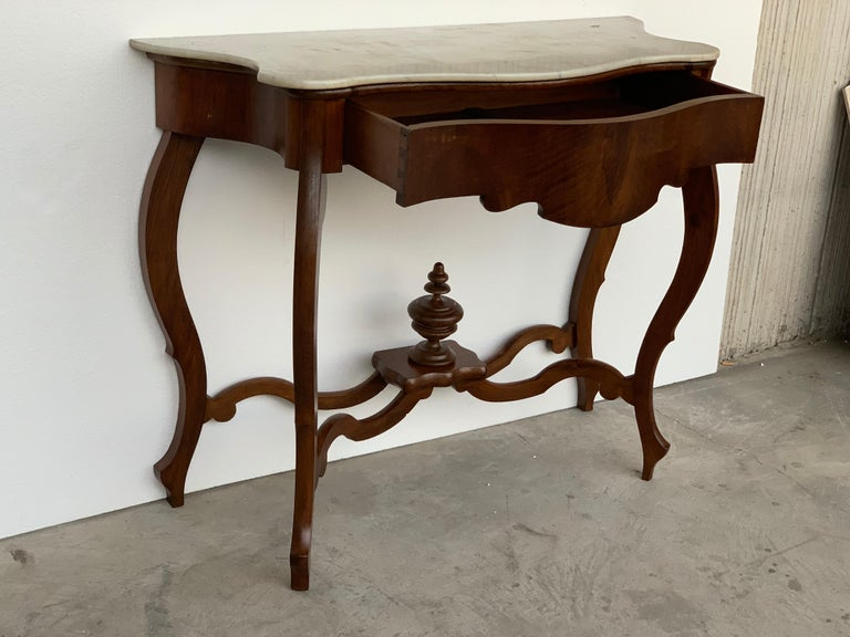 19th Century Marble-Top Walnut Console Table with Drawer 1