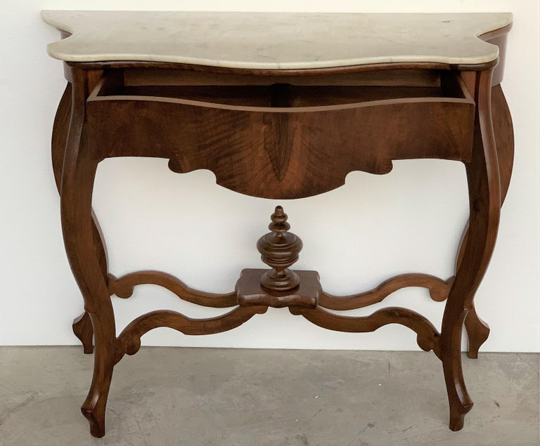 19th Century Marble-Top Walnut Console Table with Drawer For Sale 4