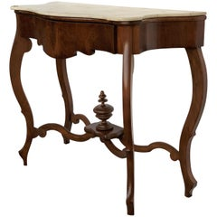 19th Century Marble-Top Walnut Console Table with Drawer