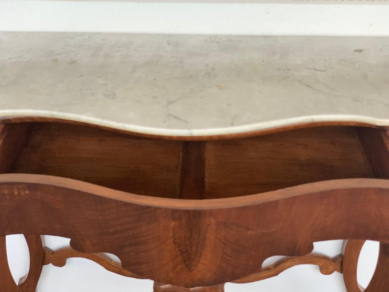 Victorian 19th Century Marble-Top Walnut Console Table with Drawer For Sale