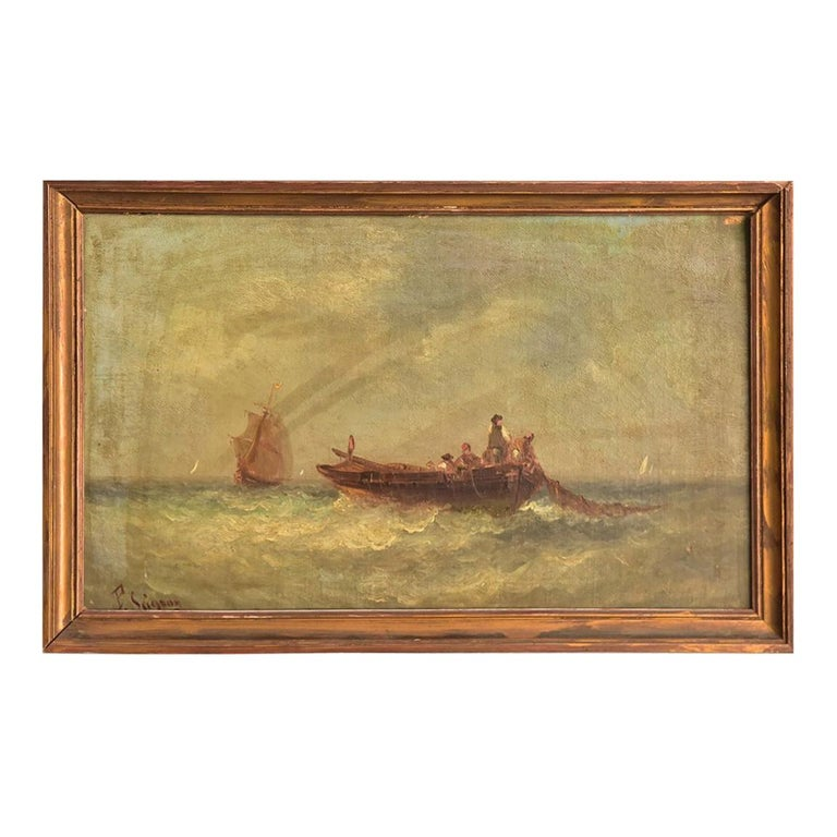 19th Century Marine Oil Painting by Paul Seignon For Sale