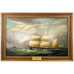 19th Century Maritime Oil on Canvas of a Ship