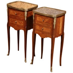 19th Century Marquetry and Bronze Walnut Nightstands with Marble, Set of 2