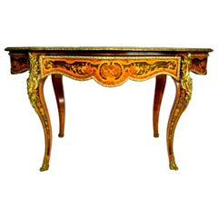 19th Century Marquetry Centre Table, Louis XV Style