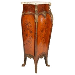 19th Century Marquetry Inlaid Pedestal, in the Style of 'Linke'