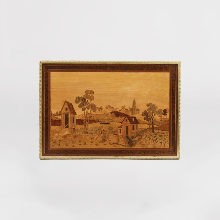 Gilt 19th Century French Marquetry Side Table Depicting a Landscape of Specimen Woods For Sale