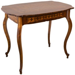 19th Century Marquetry Table with Drawer Baroque Revival, Austria, circa 1850