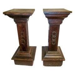Masonic Lodge Wooden Pedestal Pair 19th c