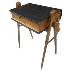 19th Century Masonic Table W Leather Flip Lid Compass Legs