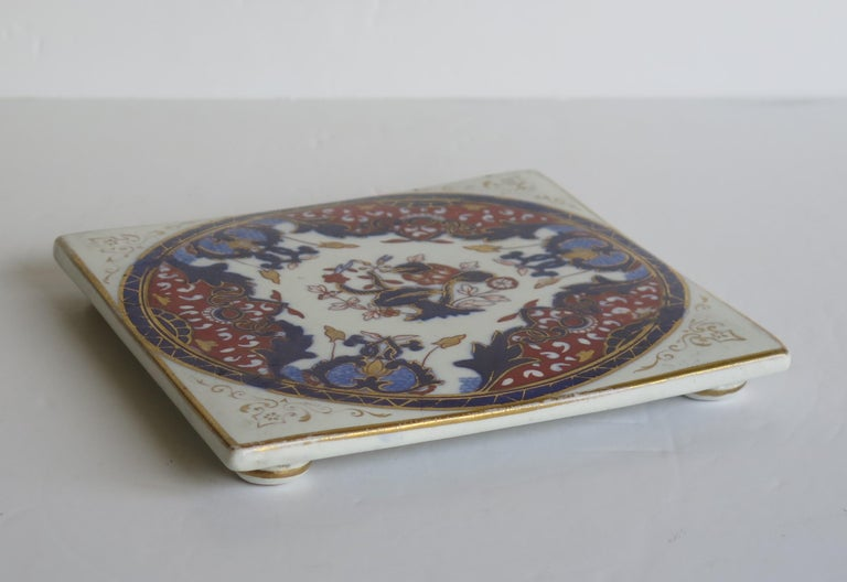 Victorian 19th Century Mason's, Ashworths Ironstone Teapot Stand, Hand Painted Ptn 4974 For Sale