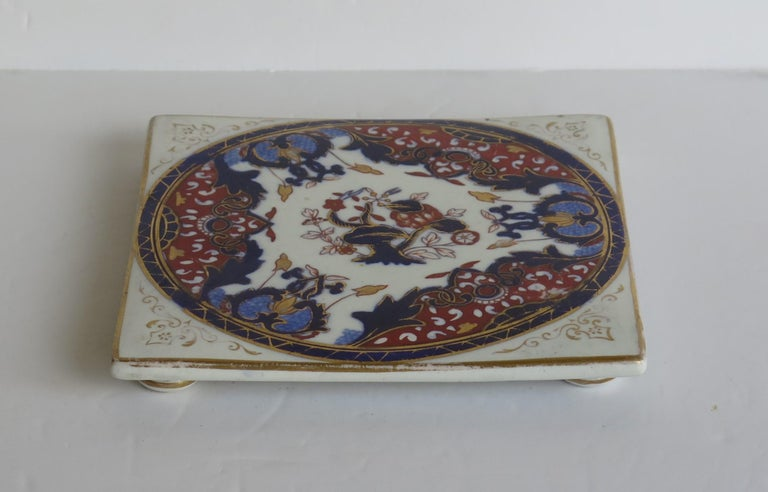 English 19th Century Mason's, Ashworths Ironstone Teapot Stand, Hand Painted Ptn 4974 For Sale