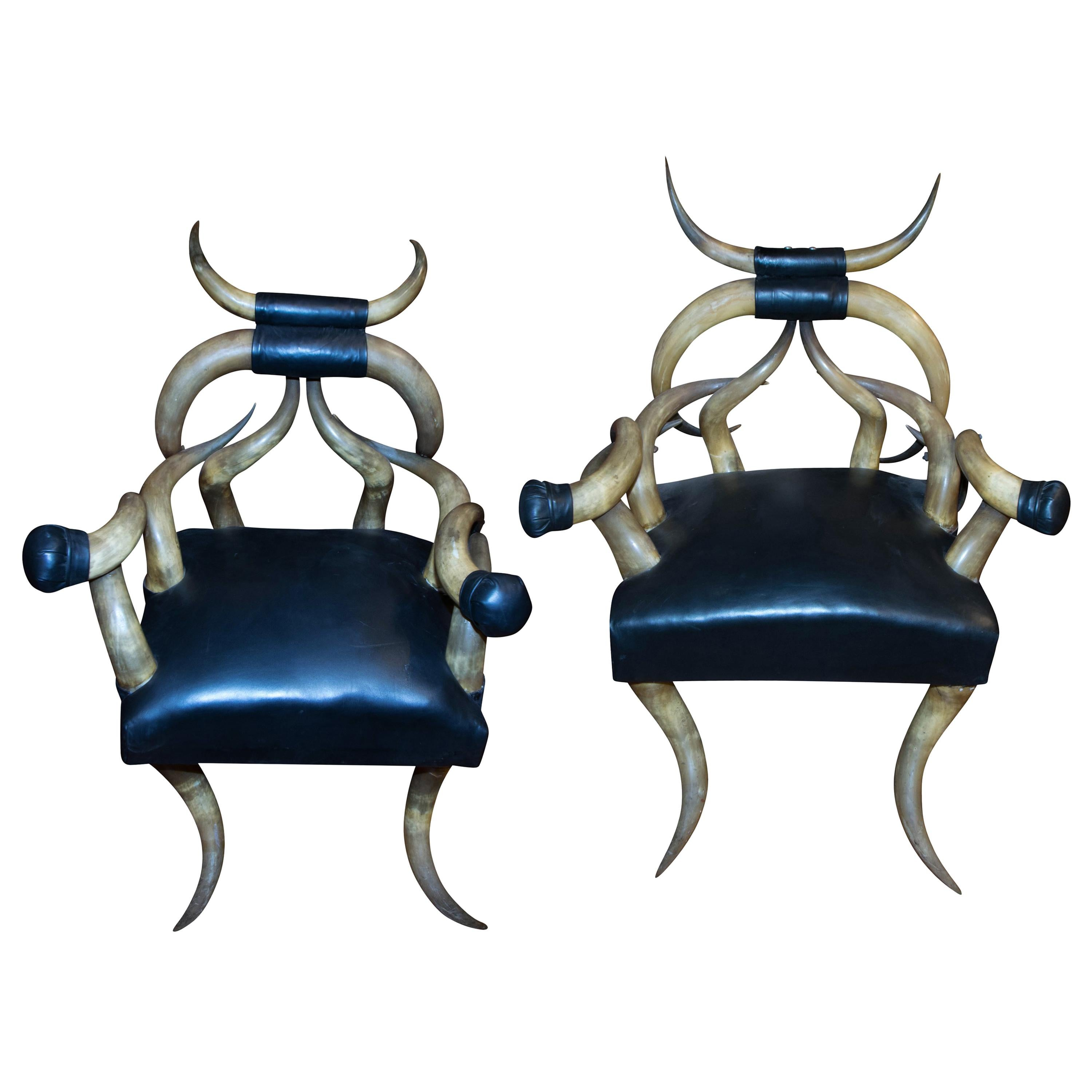19th Century Matched Pair Massive Steer Horn Chairs
