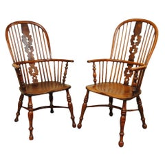 19th Century Matched Pair of Nottinghamshire Yew Wood Hight Back Windsor Chairs