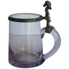19th Century Mauve Glass Tankard Hand Blown with Pewter Horse Head Hinged Lid