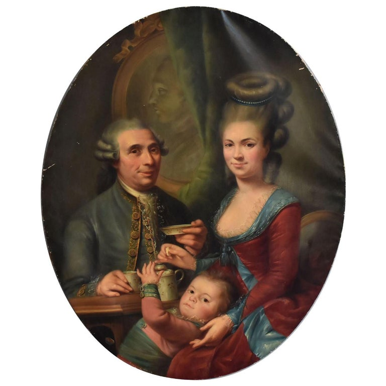19th Century Medallion Painting Family Portrait For Sale