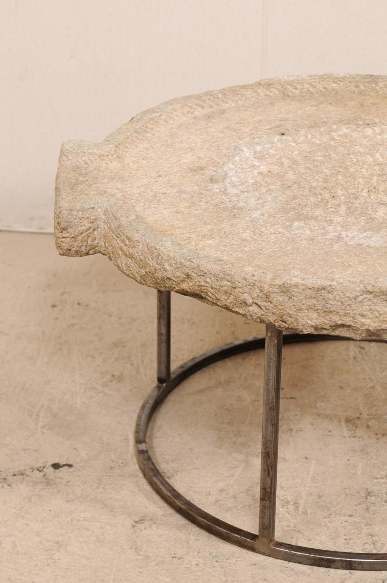 19th Century Mediterranean Stone Olive Oil Trough Table on Custom Base For Sale 4